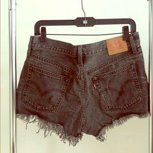 Levi Strauss frayed black denim shorts
